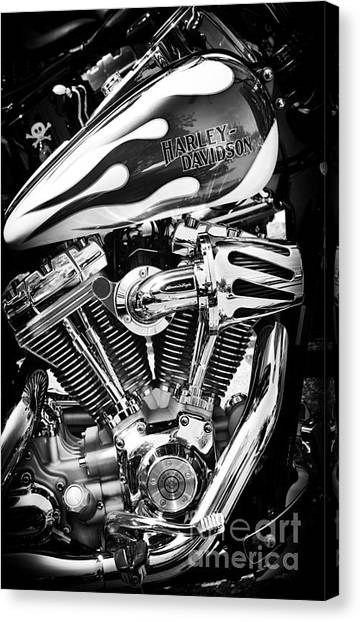 Hogs Canvas Print - Pure Harley Chrome by Tim Gainey