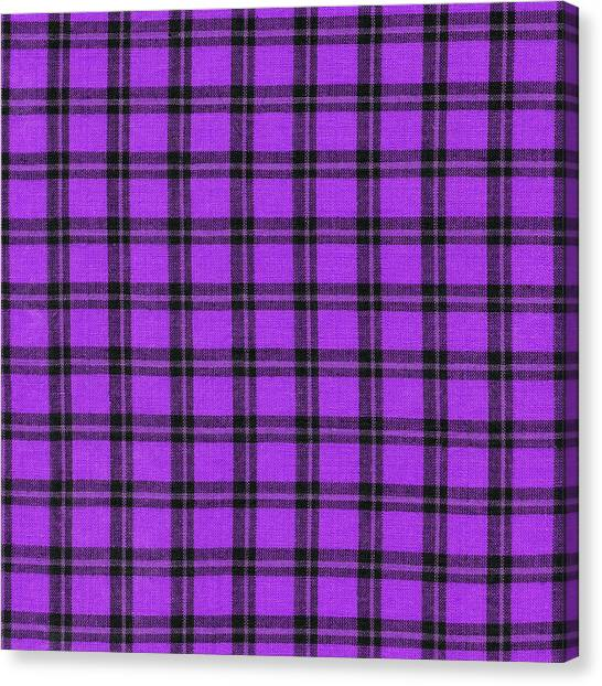 Checkered Tablecloth Canvas Print   Purple And Black Plaid Textile  Background By Keith Webber Jr