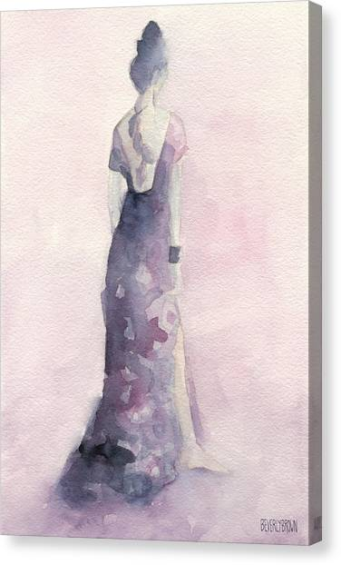 Fashion Illustrations Canvas Print - Purple And Pink Evening Dress Watecolor Fashion Illustration by Beverly Brown Prints