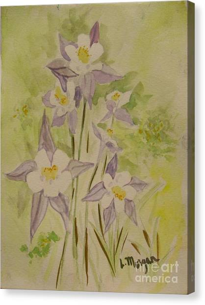 Purple And White Columbines Canvas Print