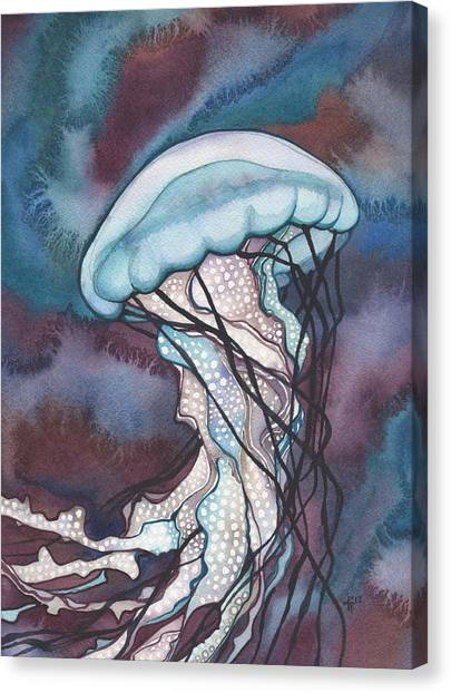 Octopus Canvas Print - Purple Bold Jellyfish by Tamara Phillips