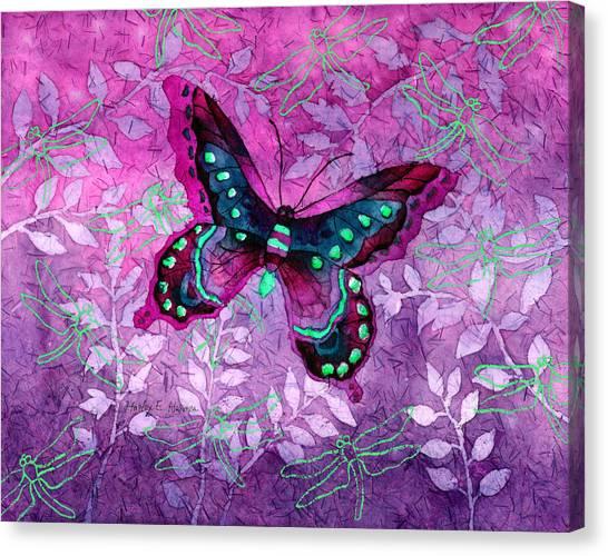 Digital Watercolor Canvas Print - Purple Butterfly by Hailey E Herrera
