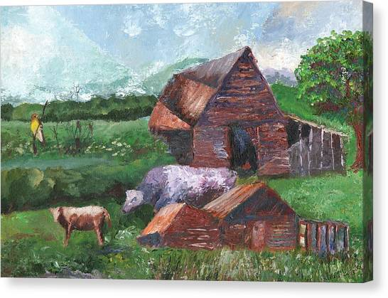 Purple Cow And Barn Canvas Print by William Killen