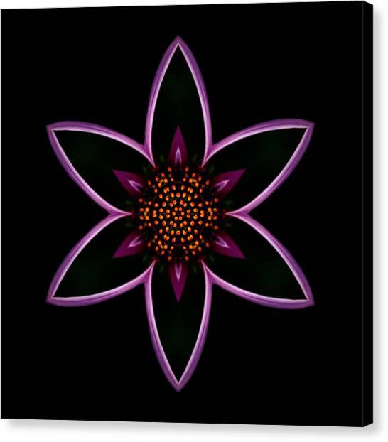 Purple Echinacea Flower Mandala Canvas Print