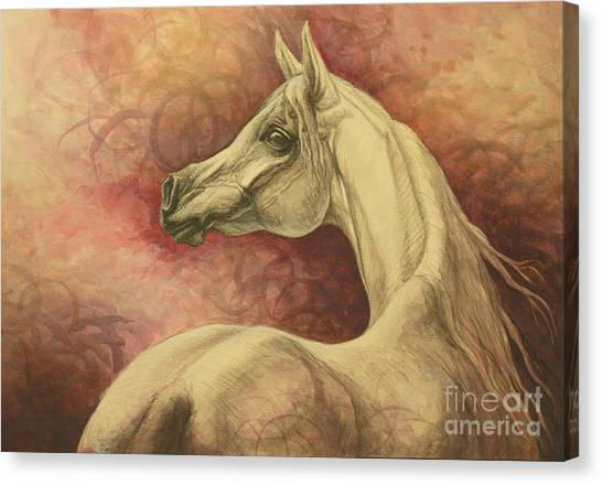 Horses Canvas Print - Purple Emotion by Silvana Gabudean Dobre