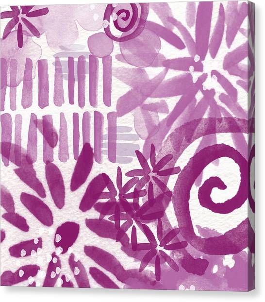 Abstract Rose Canvas Print - Purple Garden - Contemporary Abstract Watercolor Painting by Linda Woods