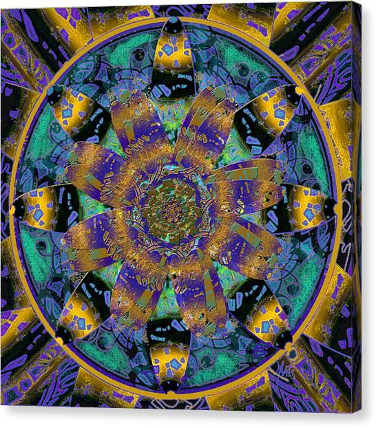 Purple Gold Dream Catcher Mandala Canvas Print