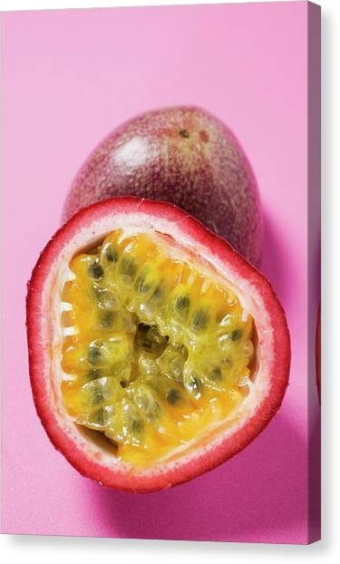 Passionfruit Canvas Print - Purple Granadilla (passion Fruit), Halved by Foodcollection