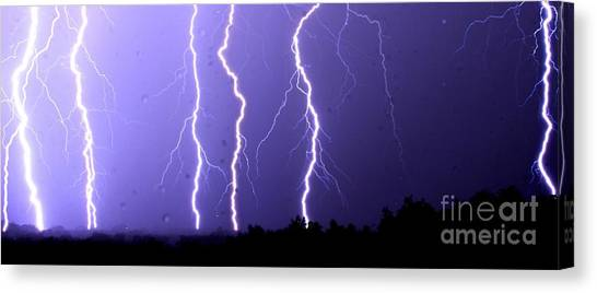Purple Rain Lightning Canvas Print