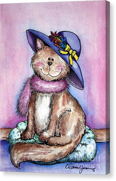 Purple Hat Cat Canvas Print