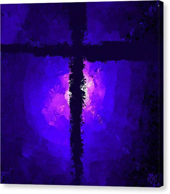 Purple Light Behind The Cross Canvas Print
