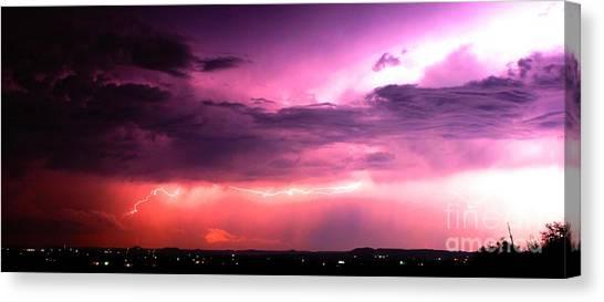 Purple Lightning Panorama Canvas Print