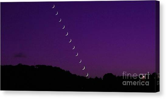 Purple Moon Setting In West Canvas Print