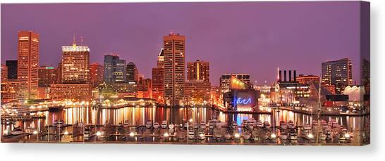 Purple Night In Baltimore Canvas Print