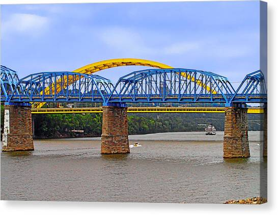 Purple People Bridge And Big Mac Bridge - Ohio River Cincinnati Canvas Print