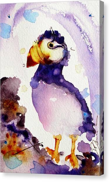 Purple Puffin Canvas Print