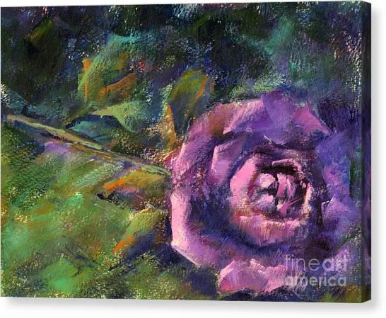 Purple Rose Canvas Print by Addie Hocynec