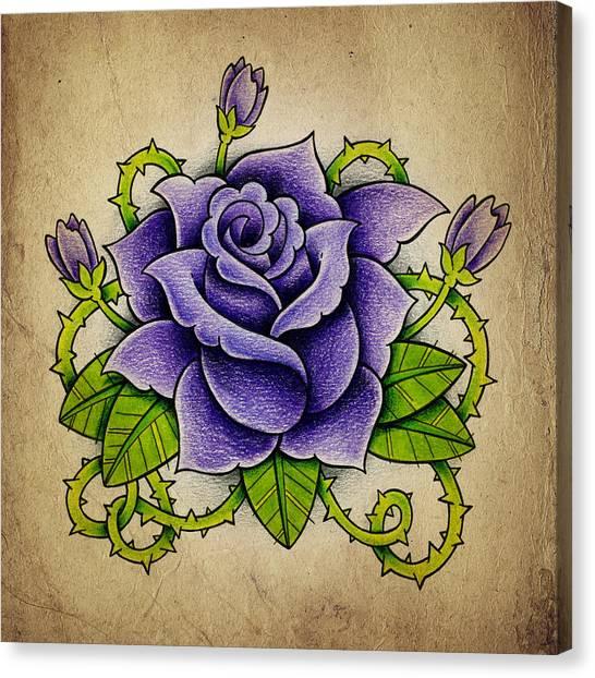 Tattoo Canvas Print - Purple Rose by Samuel Whitton