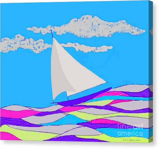 Purple Sailboat Canvas Print