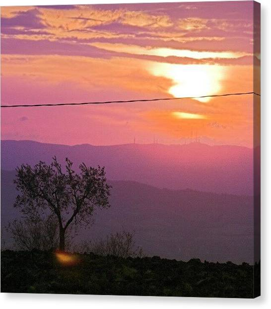Sunrise Horizon Canvas Print - Purple Sunset by Emanuela Carratoni