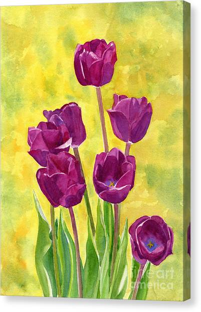 Purple Canvas Print - Purple Tulips With Textured Background by Sharon Freeman