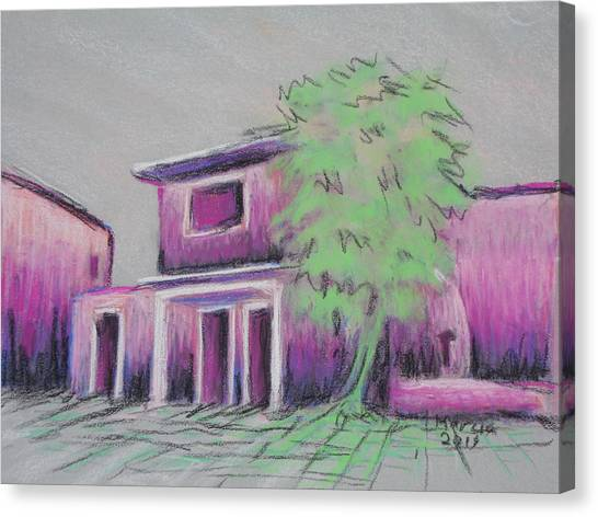 Purple Village Canvas Print by Marcia Meade