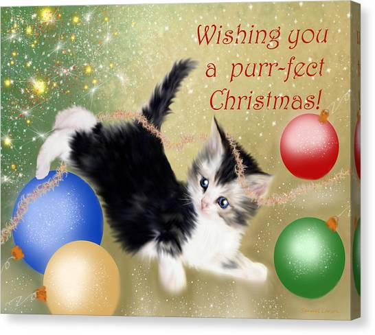 Purr-fect Christmas Greetings  Canvas Print