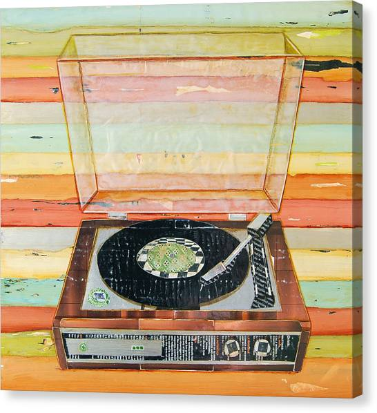 Collage Canvas Print - Put A Needle On The Record by Danny Phillips
