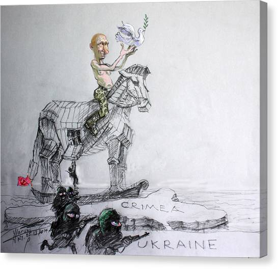 War Horse Canvas Print - Putin's Surprising Crimea Visit by Ylli Haruni