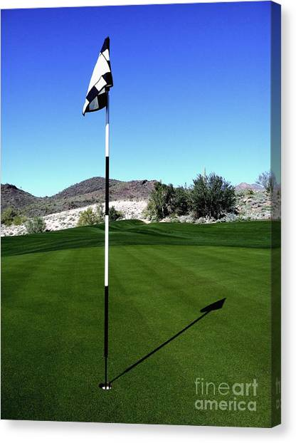 Putting Green And Flag On Golf Course Canvas Print