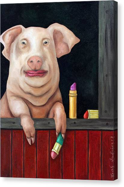 Pig Farms Canvas Print - Putting Lipstick On A Pig by Leah Saulnier The Painting Maniac