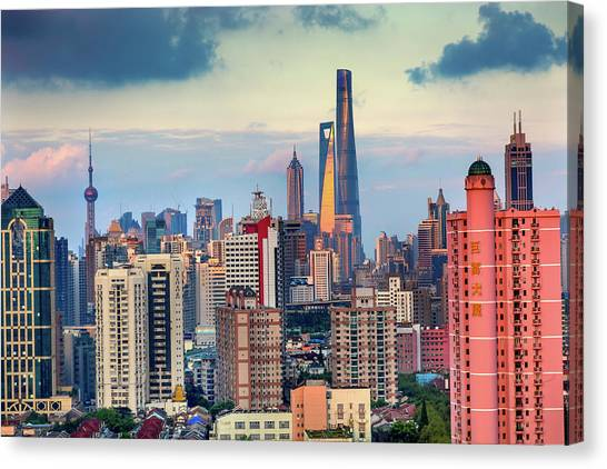 Tv Tower Canvas Print - Puxi Pudong Buildings World Financial by William Perry