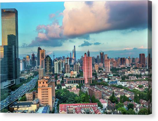 Puxi Pudong Buildings World Modern Canvas Print by William Perry