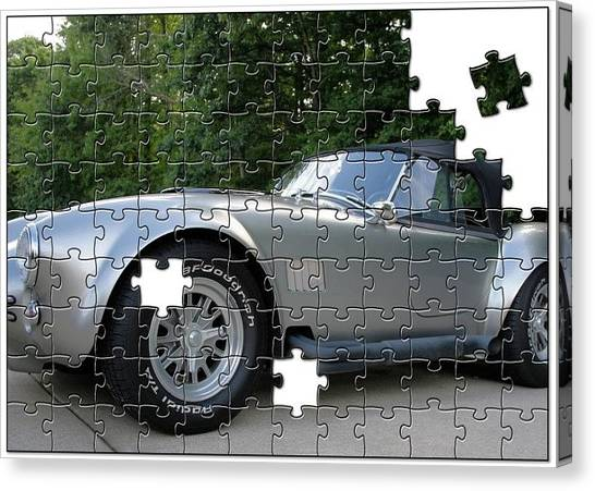 Sports Cars Canvas Print - Puzzled Muscle Car by Rabecca Primeau
