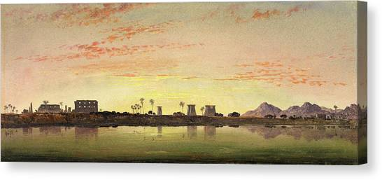 Pylons At Karnak, The Theban Mountains In The Distance Canvas Print by Litz Collection