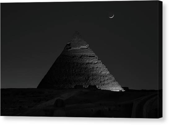 Pyramid At Night Canvas Print by Vincent Chen