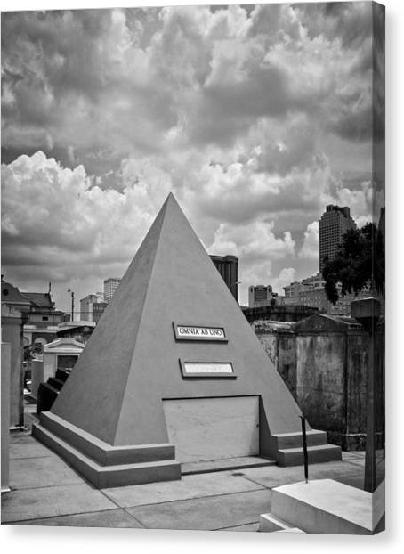 Pyramid Of Saint Louis Cemetery In Black And White Canvas Print