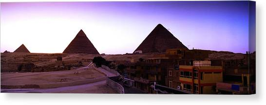 Egyptian Art Canvas Print - Pyramids At Sunset, Giza, Egypt by Panoramic Images