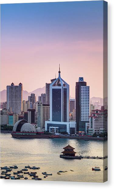 Qingdao Bay Sunset Scene Canvas Print by Miragec