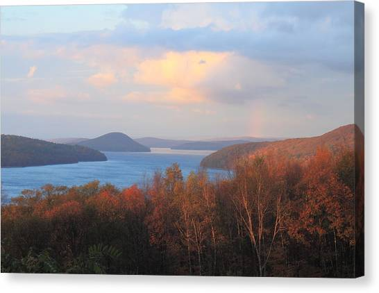Quabbin Reservoir Enfield Lookout Late Foliage Rainbow Canvas Print