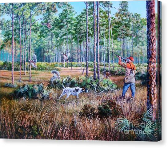 Shotguns Canvas Print - Quail Hunting...a Southern Tradition. by Daniel Butler