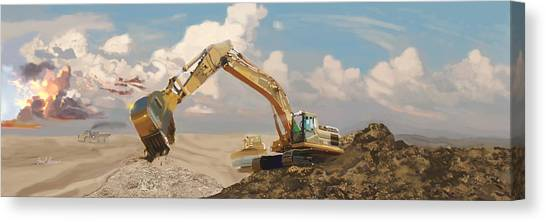 Excavators Canvas Print - Quarry Cats by Brad Burns