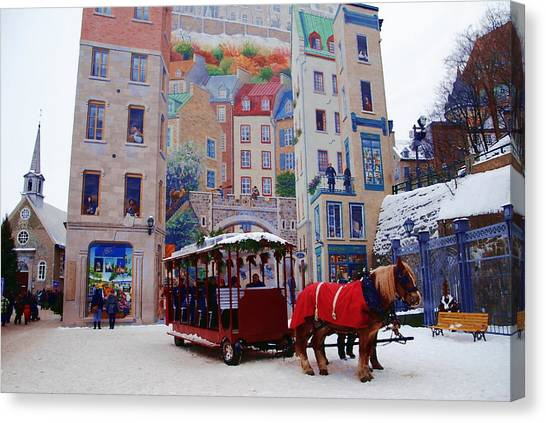 Quebec City Holiday Canvas Print by Jacqueline M Lewis