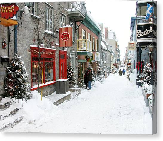 Quebec City In Winter Canvas Print