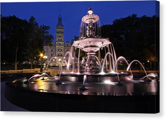 Parliament Hill Canvas Print - Quebec Parlementaire And Fontaine De Tourny by Juergen Roth