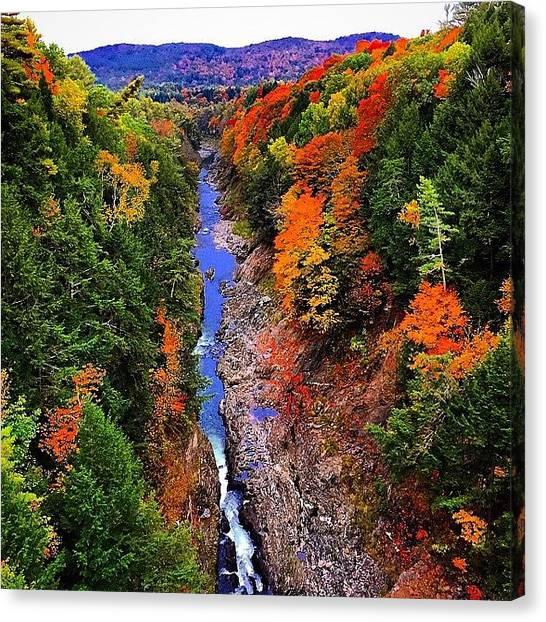 Vermont Canvas Print - #quechee #vermont #quecheegorge #autumn by Mike Valletta