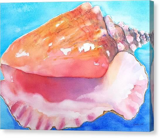 Conch Canvas Print - Queen Conch Shell by Carlin Blahnik CarlinArtWatercolor