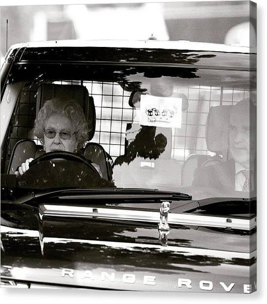 Queen Elizabeth Canvas Print - #queen #elizabeth #drive #rangerover by Anna Jurkovska