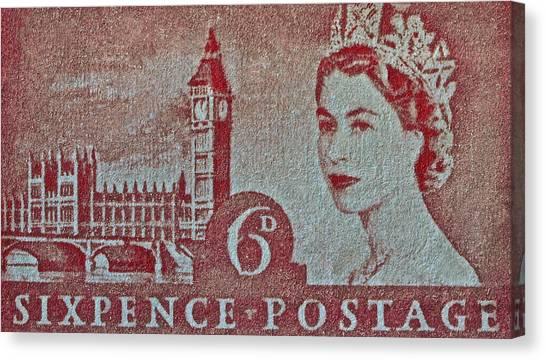 Queen Elizabeth II Big Ben Stamp Canvas Print