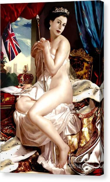 Queen Elizabeth II Nude Portrait Canvas Print